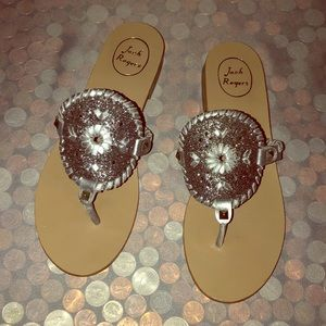 Jack Rogers Silver Metallic Leather Thong Sandals